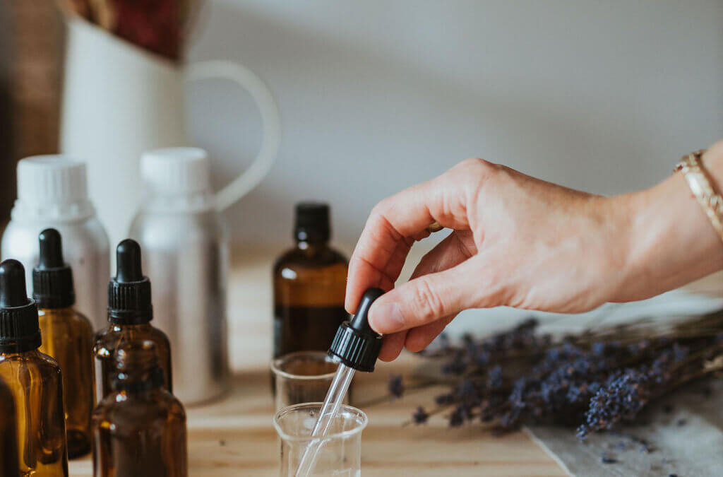 Blending essential oils at The Smallest Light